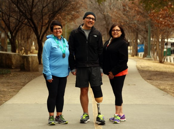 Yolanda, Mike & Liz had trust in each other they'd cross the finish line together Photo: G.J. McCarthy/DMN